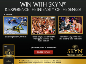 Ansell Condoms – Win With SKYN (Sky diving, Tickets To Australia Day or Valentine's Day Dinner)
