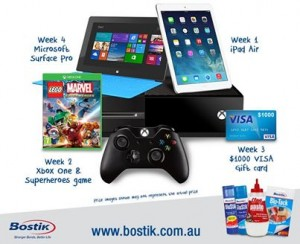 Bostik – Win iPad, X Box, Visa Card or Microsoft Surface Pro per week or 1 of 30 instant win school packs