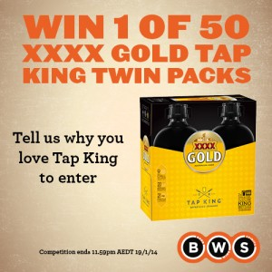 BWS – Win 1 of 50 XXXX Gold Tap King Twin Packs