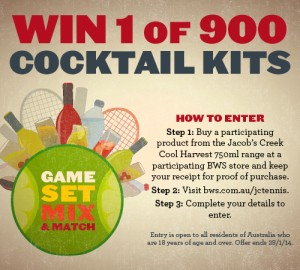 BWS – Win 1 of 900 cocktail kits – buy 750ml Jacob's Creek Cool Harvest