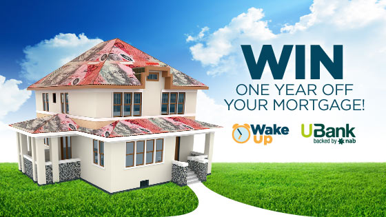 Channel Ten Wake Up (caption a photo) win a year off your mortgage or $15,000 with UBank