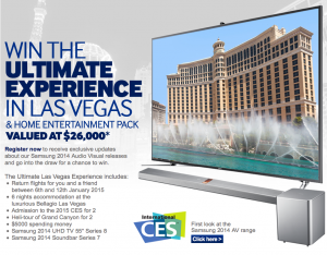 Samsung – Win A Trip To Las Vegas 2015 and Home Entertainment Pack Valued At $26,000