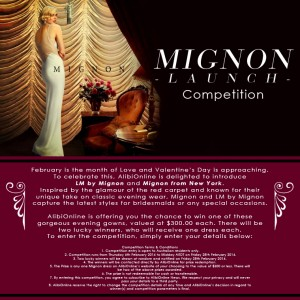 ALIBIONLINE – Sign up to win 1/2 LM by Mignon evening gowns valued at $300