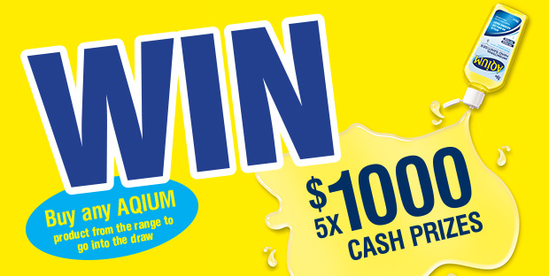 Aqium hand sanitiser – Win 1 of 5 x $1,000 cash prizes