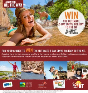 BIG4 Holiday parks – Win The Ultimate 5 Day Drive Holiday To The NT worth $5,000