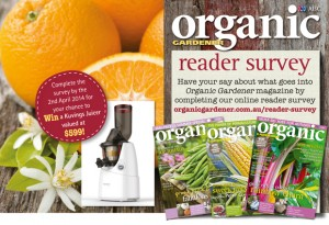 Organic Gardener Complete Reader Survey for chance to win a Kuvings Juicer Valued At $599