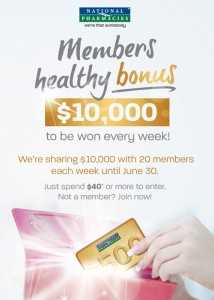 National Pharmacies – Win 1 of 20 $500 prepaid visa cards each week for 13 weeks