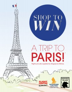 Burnside Village – Win a trip to Paris 2014 (inc flights & $1000 Flight Centre voucher)