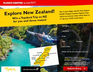 Flight Centre – Win a Topdeck Trip to New Zealand 2014 for you and three mates