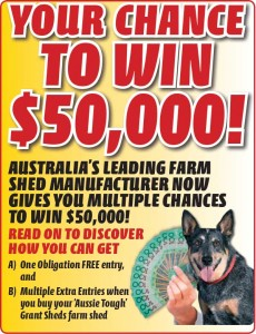 Grant Sheds – Win $50,000 Cash