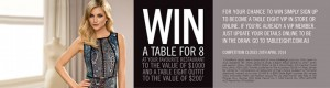 Table Eight – Win a $1,000 table for 8 at your favourite restaurant