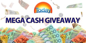 "Today – Mega Cash Giveaway – Win $10,000 (must answer with ""I Wake Up With Today"" within 5 rings)"