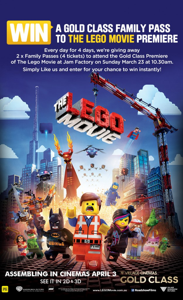 Village Cinemas – Win Family Pass to The Lego Movie Gold Class Premiere Screening