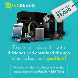 Nodunno – Win $3,000 prize pack + an iPad Air + $50 iTunes
