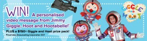 ABC Shop – Win a personalised Giggle and Hoot video message PLUS a Giggle and Hoot prize pack