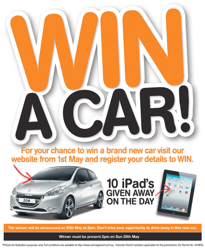 Car Megamart – Win a new car | Australian Competitions: https://thecompetitions.com.au/product-purchase-competitions/car...