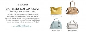 Ebates – Win Coach handbag for Mother's Day 2014