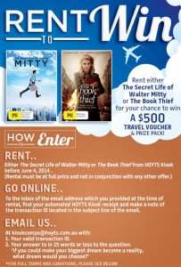 Hoyts Kiosk – Win a $500.00 travel voucher & book/dvd pack