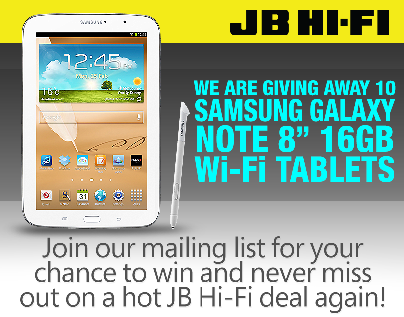 JB Hi-Fi – win 1 of 10 Samsung Galaxy Note daily | Australian Competitions