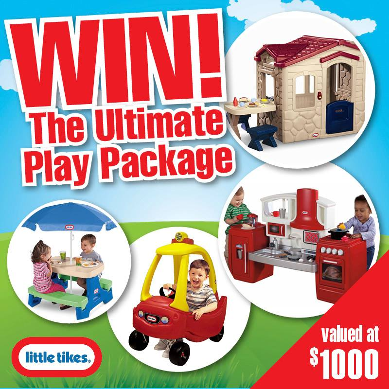 Jump Star trampolines – Win a little Tikes Pack (Playhouse, Cozy Coupe ride-on, Outdoor setting, and Play Kitchen)