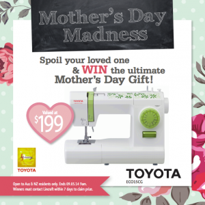 Lincraft – Win a Toyota ECO15CG sewing machine