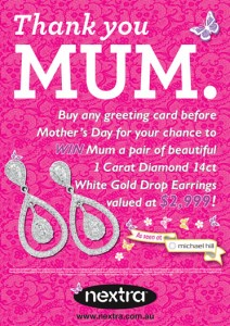 Nextra Group Newsagency – Win a pair of 1 carat diamond earrings for Mother's Day