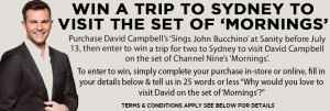 Sanity – Purchase David Campbell's Sings John Bucchino' and Win trip to Sydney to Mornings set and meed David