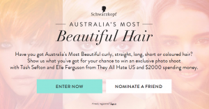 Schwarzkopf Australia – Most Beautiful Hair – Win photo shoot and $2,000 spending money