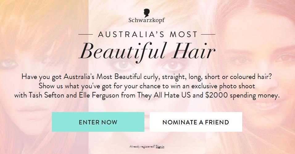 Schwarzkopf Australia – Most Beautiful Hair – Win photo shoot and $2,000 spending money