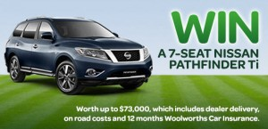 Woolworths Insurance – WIN an Automatic Nissan Pathfinder Ti 2014