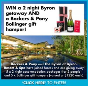 Bockers & Pony – Win a 2 night Byron Getaway and a Bocker & Pony Bollinger gift hamper