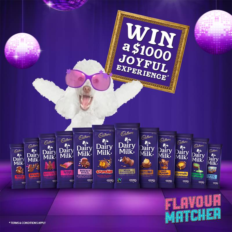 Cadbury Dairy Milk – Win 1 of 12 joyful experience vouchers valued at $1,000 each