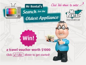Mr Rentals- Search for the oldest appliance- Win a travel voucher
