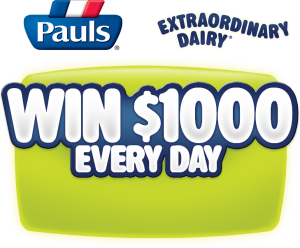 Pauls Dairy – Purchase any Pauls 2L or 3L milk to win $1000 everyday