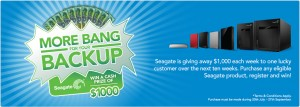 Seagate – Product purchase to Win $1,000 each week over 10 weeks