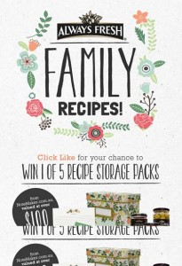 Always Fresh – Win 1 of 5 Recipe Storage Packs