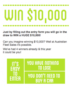 Australian Fleet Sales – Win $10,000 Competition