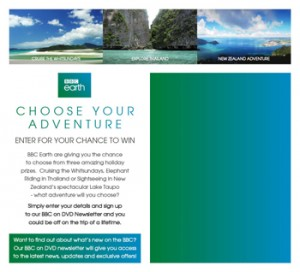 BBC Earth – Choose your own adverture – Win a fabulous holiday prize package