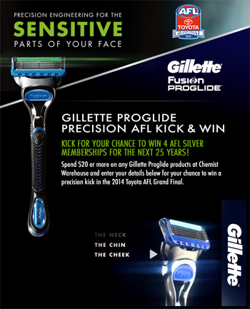 Chemist Warehouse – Gillette Proglide – Win 4 AFL Silver Memberships for the next 25 years