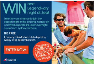 Cruiseabout – Win 1 of 8 a Legendary Nights at Sea
