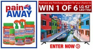 Discount Drug Stores – Purchase any PainAway product for your chance to Win 1 of 6 LG 42″ Led TVs