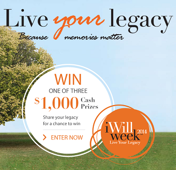 I Will Week 2014 – Win 1 of 3 $1,000 Cash