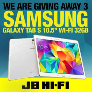 JB Hi-Fi – Win 1 of 3 Samsung Galaxy Tab S 10.5 32GB WiFi Tablets
