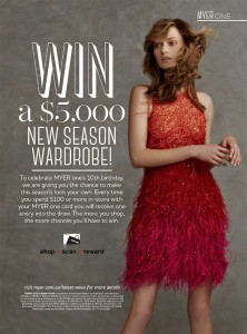 Myer One – Win a $5,000 new season Wardrobe