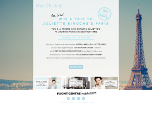 Blue Illusion – Win a Trip To Juliette Binoche's Paris 2014 valued up to $15,000