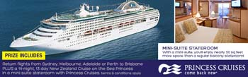 Cruise Expo – WIN Return Airfares & a 14 night Cruise to New Zealand with Princess Cruises in a Mini Suite Stateroom