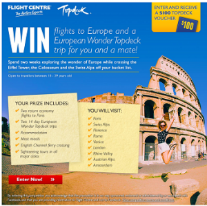 Flight Centre – Win a 14 day European Wonder Topdeck Trip 2014