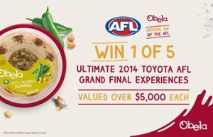 Obela Australia – WIN 1 of 5 Ultimate AFL Toyota 2014 Grand final experiences