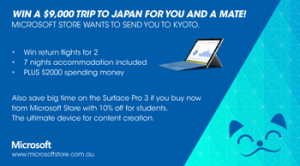 Pedestrian Daily & Microsoft Store – Win a $9000 Trip to Japan for you and a mate