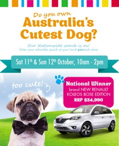 Pet Stock-Australias Cutest Dog – Win a brand new Renault Koleos Bose Edition valued at $34990